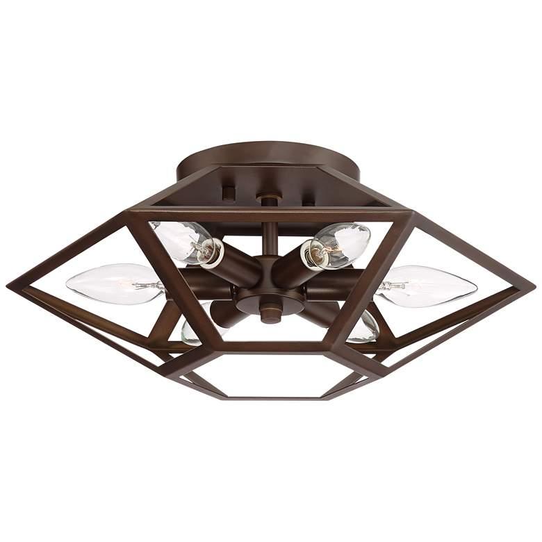 "Possini Euro Trapezoid 13 1/2""W Bronze Ceiling Light"