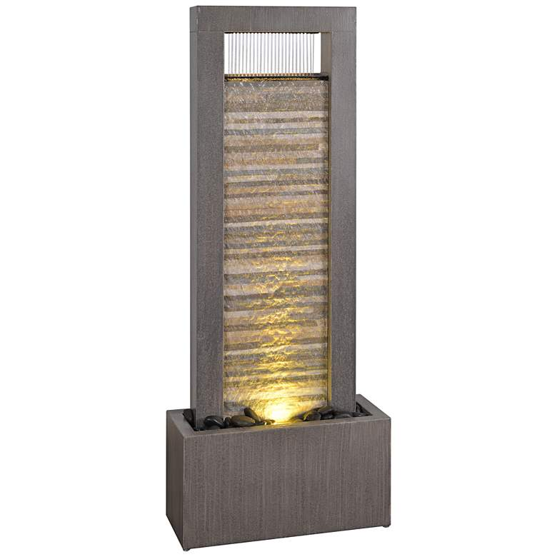 "Gantry 48""H Gray and Cream LED Indoor/Outdoor Floor Fountain"