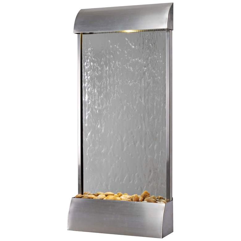 "Breckenridge 42"" High Steel Mirror LED Outdoor Wall Fountain"
