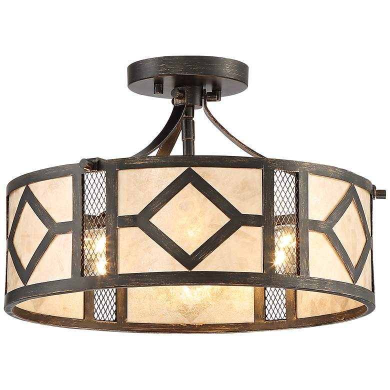 """Marisol 15 1/2"""" Wide Bronze and Mica Ceiling Light"""