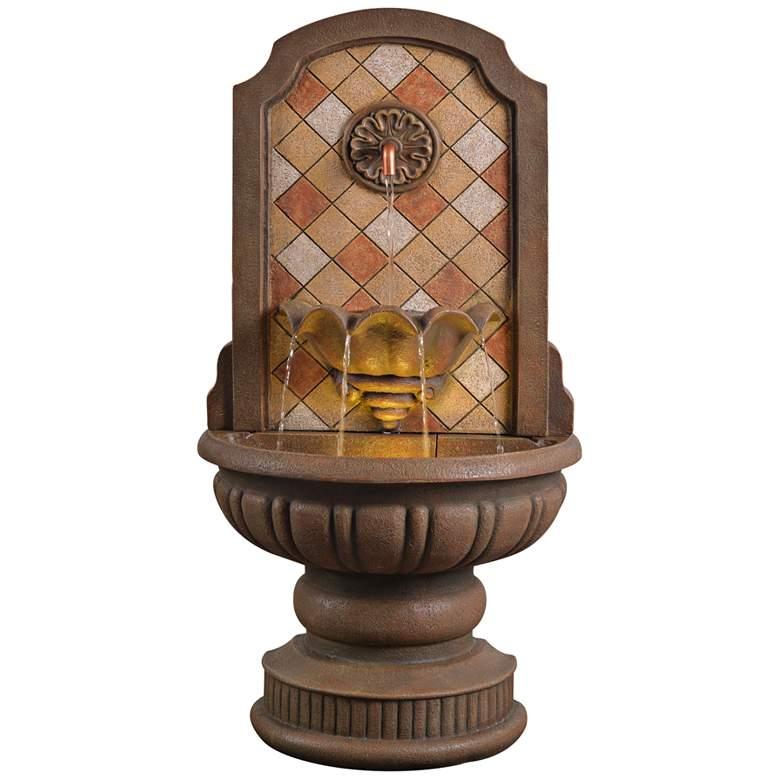 """Armando 42 3/4"""" High Mosaic Patio Wall Fountain"""