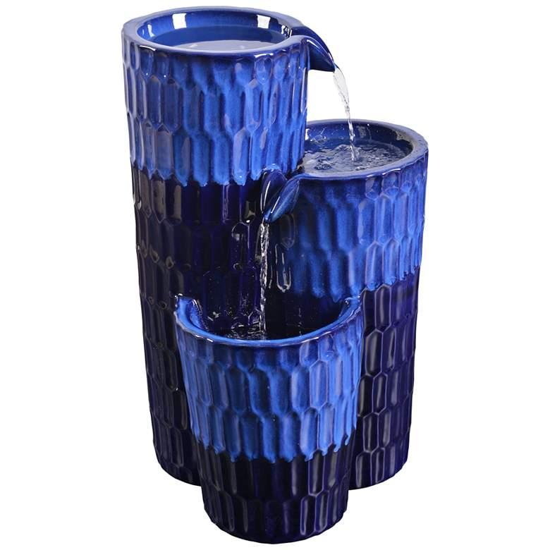 "Nueva 25"" High Cobalt Blue Ceramic Outdoor Floor"