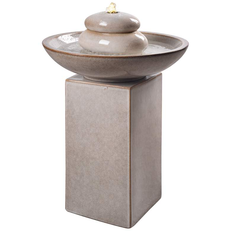 """Stonewell 29"""" High Ivory Ceramic LED Outdoor Floor Fountain"""