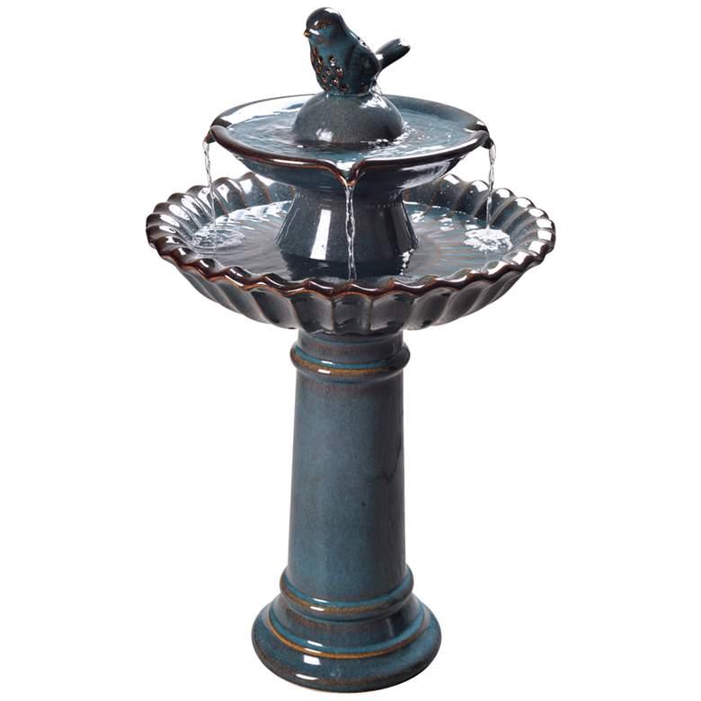 """Vogel 27 1/4"""" High Teal Blue Ceramic Bird Garden Fountain"""