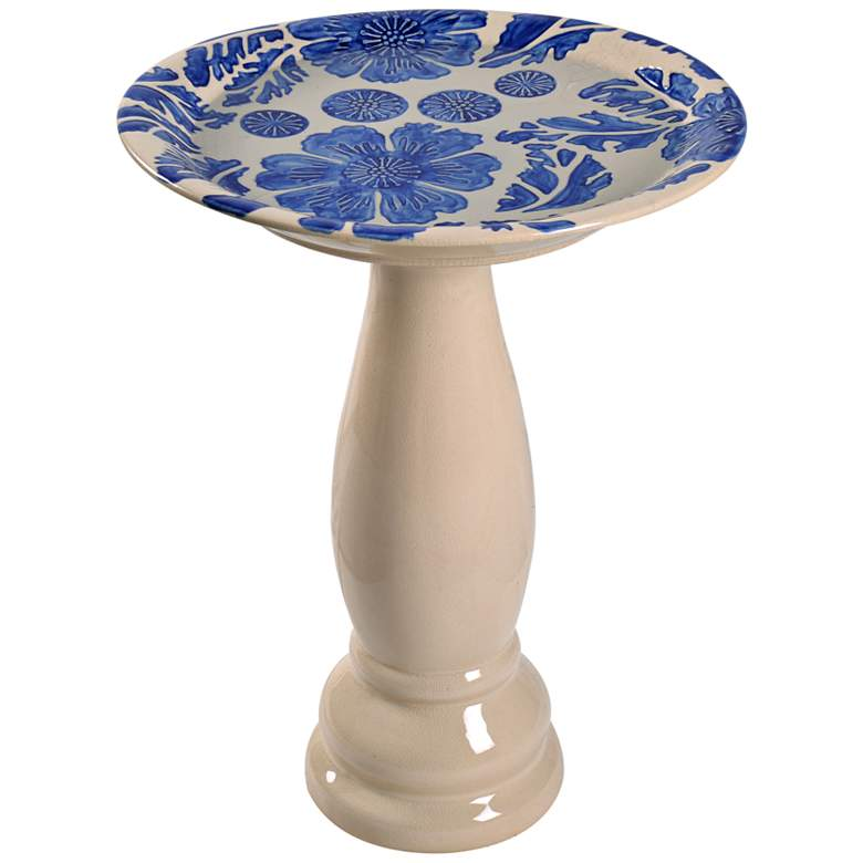"Brandy 22"" High Blue Glaze Flower and Vine"