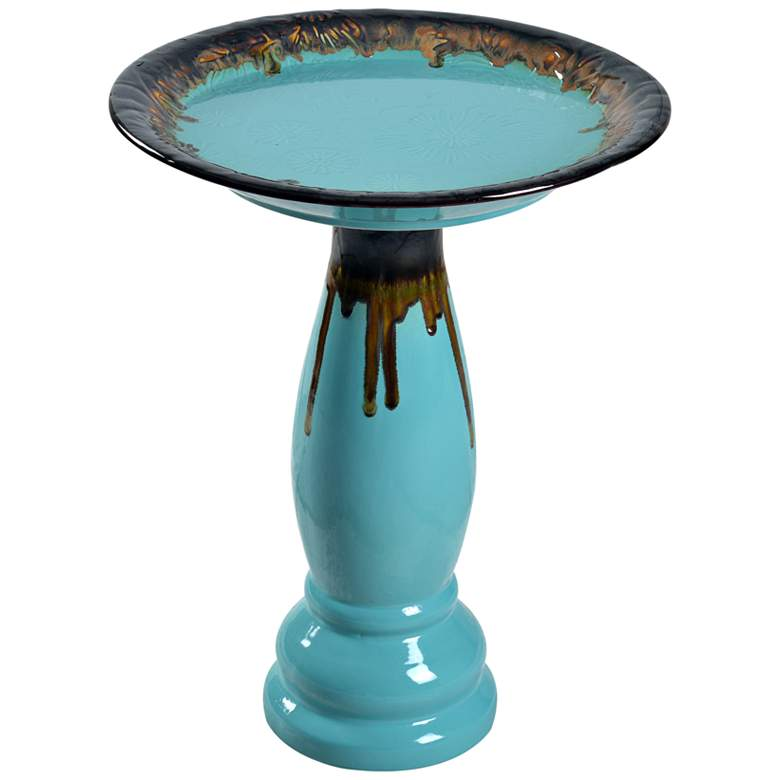 "Brandy 22"" High Teal Blue Ceramic Garden Birdbath"