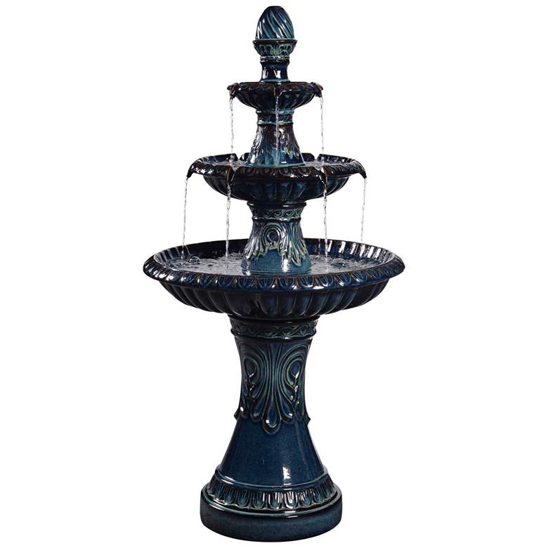 "Kiera 46 1/2"" High Blue Ceramic Traditional Garden Fountain"