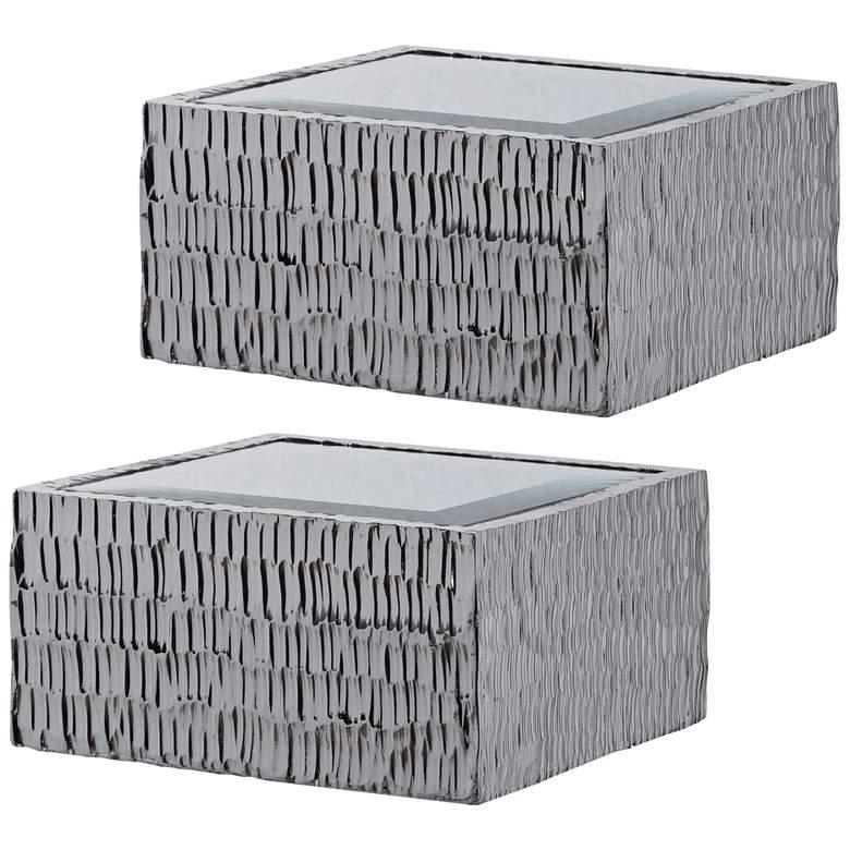 "Jessamine 8""W Silver 3-Dimensional Wall Shelves Set of 2"