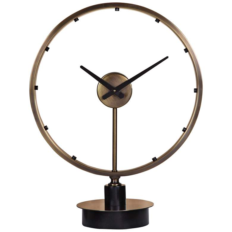 """Uttermost Davy 24 1/2"""" High Brass and Black Table Clock"""