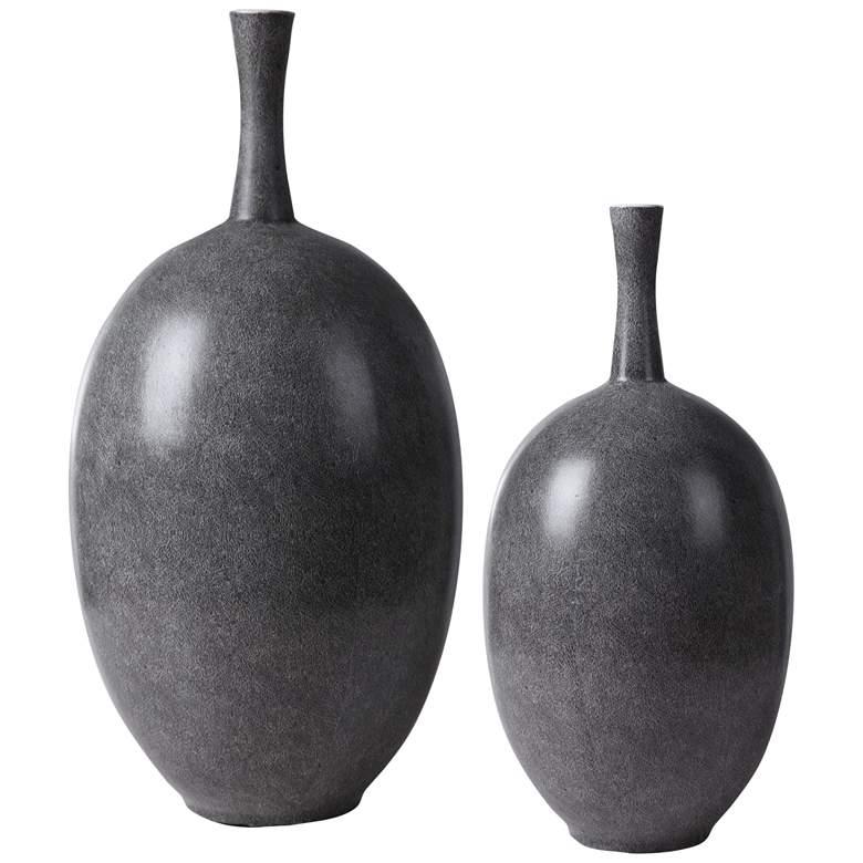 Uttermost Riordan Black and White Ceramic Vases Set of 2