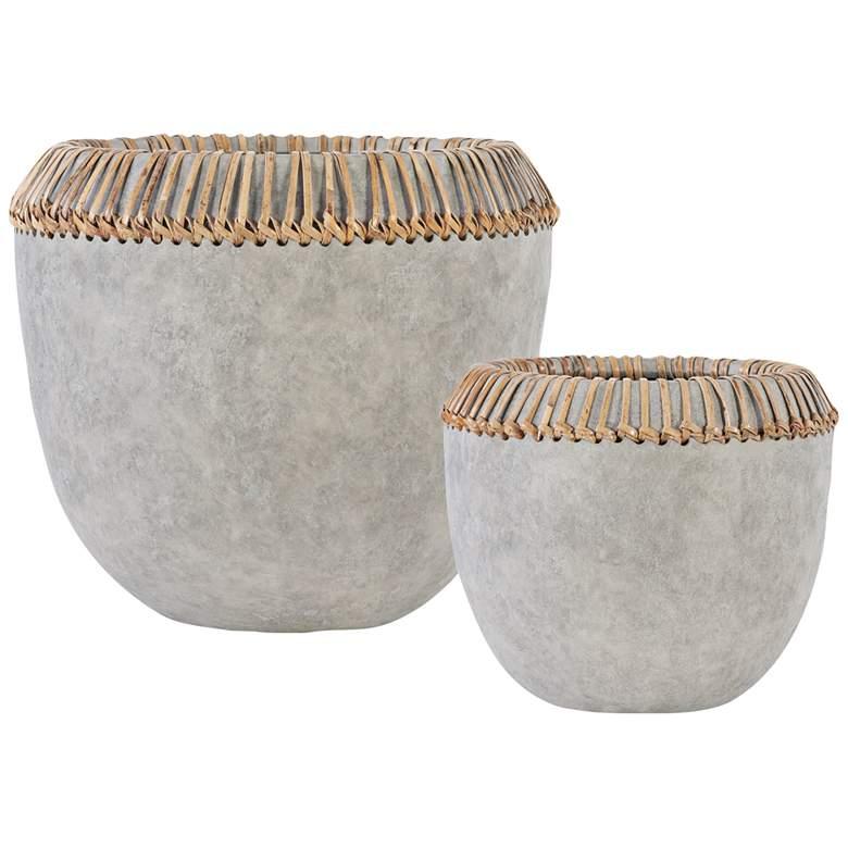 Uttermost Aponi Concrete Gray Earthenware Bowls Set of 2