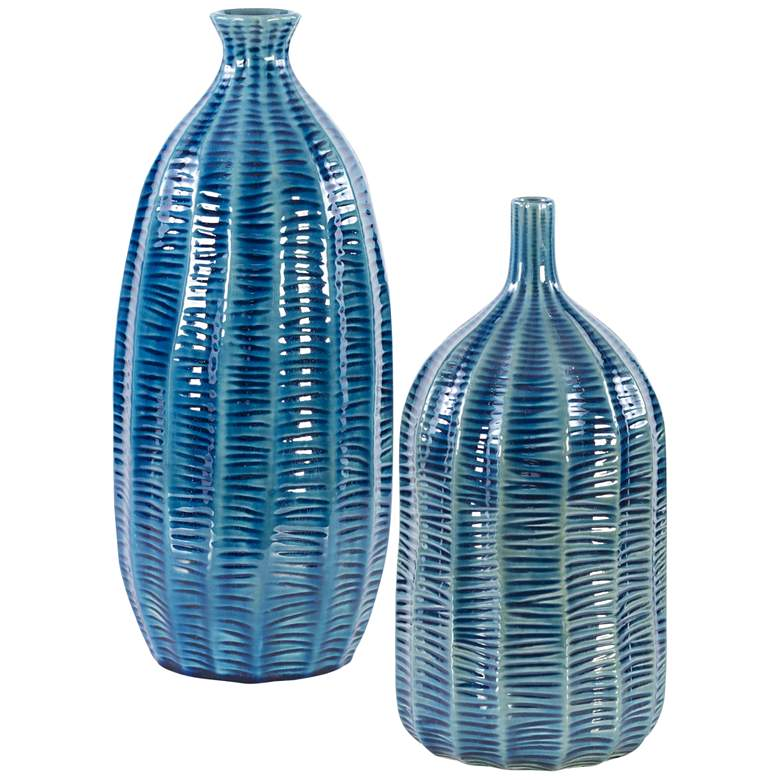 "Bixby 15"" and 13"" Cobalt Blue Earthenware Vases Set of 2"