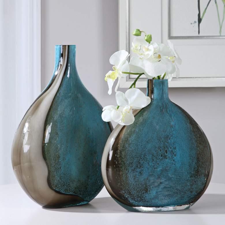 Uttermost Adrie Cobalt Blue Black Art Glass Vases Set of 2