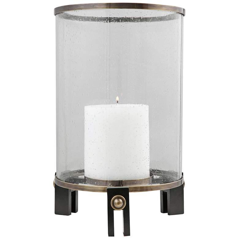 "Faraday 14 1/4"" Seeded Glass Cylinder Pillar Candle Holder"