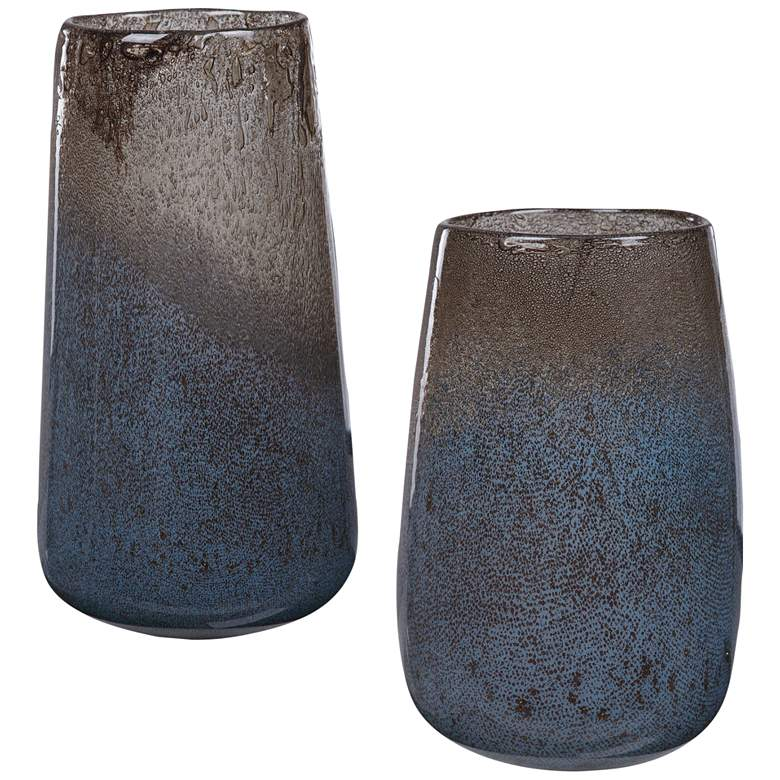 Uttermost Ione Light Blue and Taupe Glass Vases Set of 2