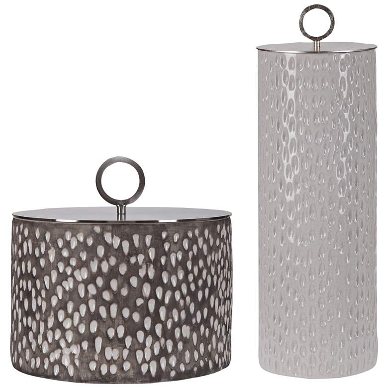 Cyprien Off-White and Smoke Gray Ceramic Containers Set of 2