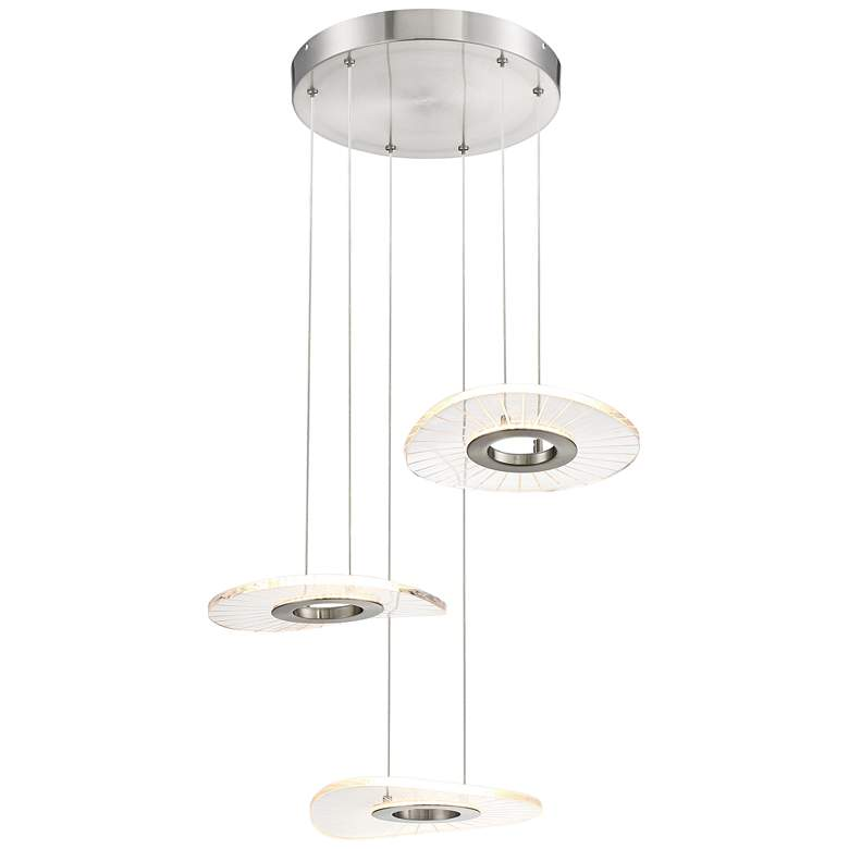 "Light Ray 17"" Wide Brushed Nickel LED Multi Light Pendant"