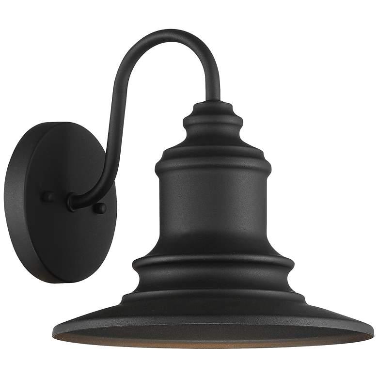 "Possini Euro Elgin 9 1/2""H Textured Black Outdoor Wall Light"