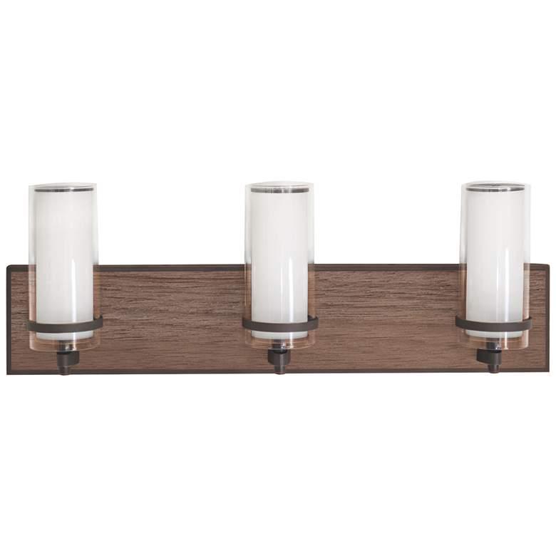 "Arden 23 3/4"" Wide Bronze and Walnut 3-Light LED Bath Light"