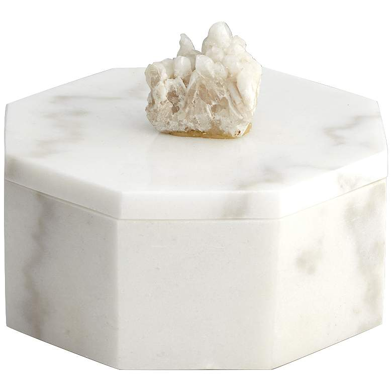 """Octagonal 7"""" Wide White Marble Decorative Box"""