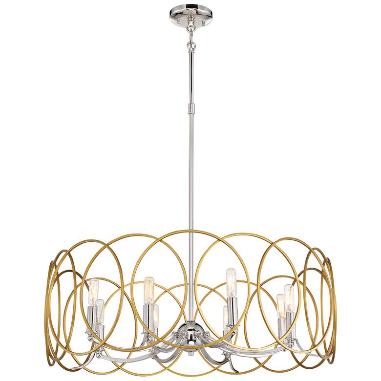 "Chassell 31 1/2""W Honey Gold and Nickel 8-Light Chandelier"