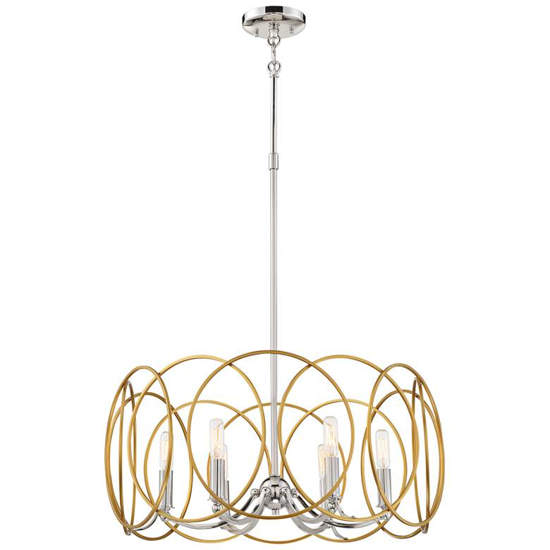 "Chassell 24 3/4""W Honey Gold and Nickel 6-Light Chandelier"