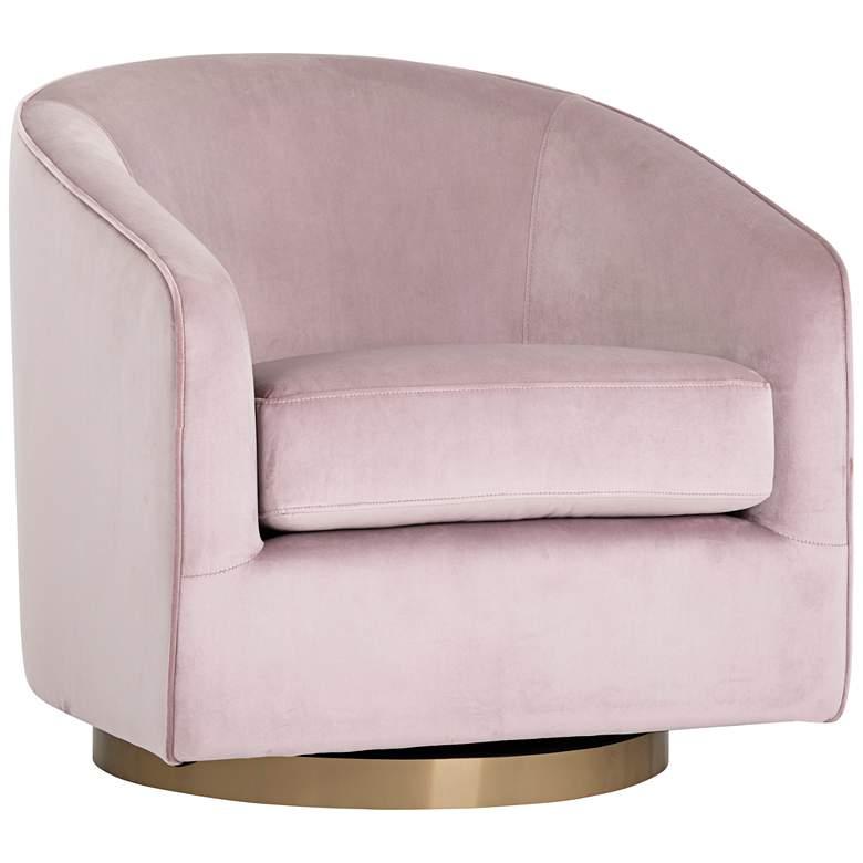 Hazel Blush Sky and Antique Brass Swivel Armchair