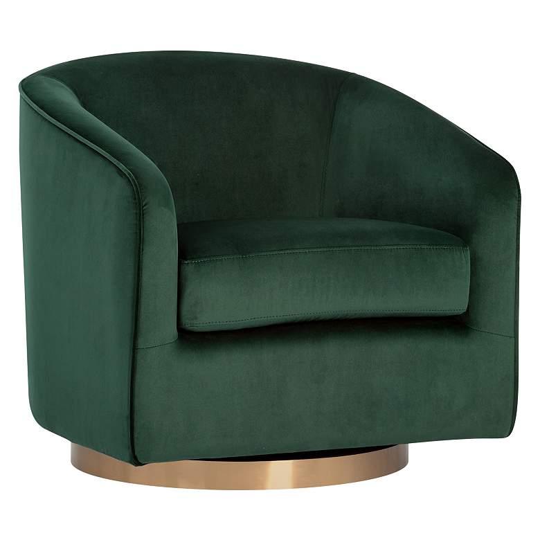 Hazel Deep Green Sky and Antique Brass Swivel Armchair