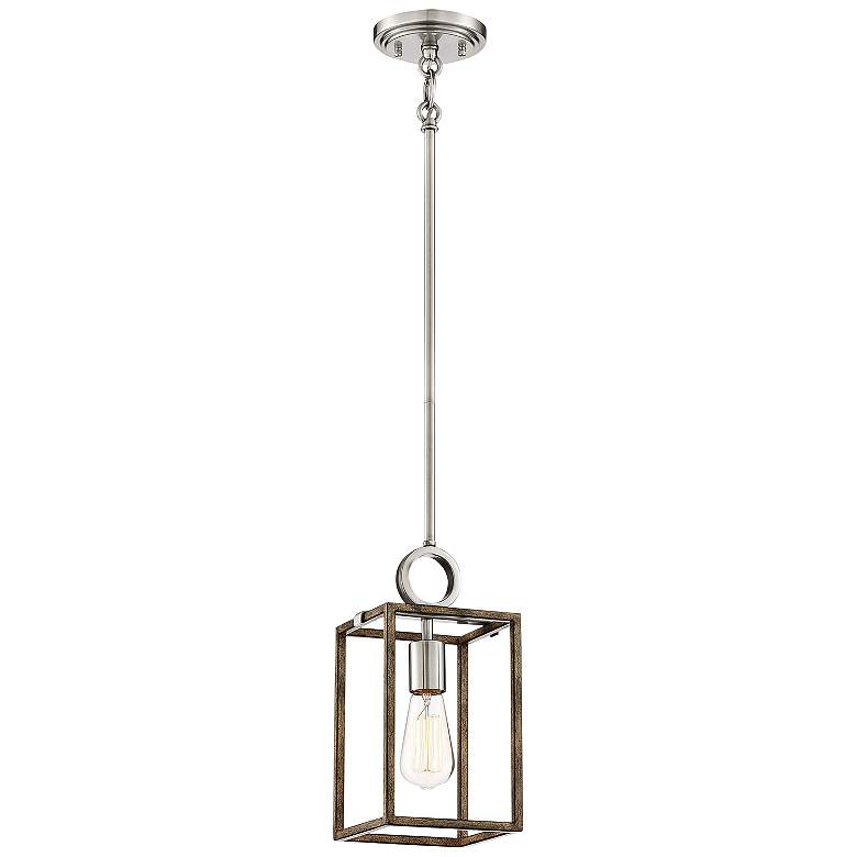 """Country Estates 6 1/2""""W Wood and Brushed Nickel Mini Pendant"""