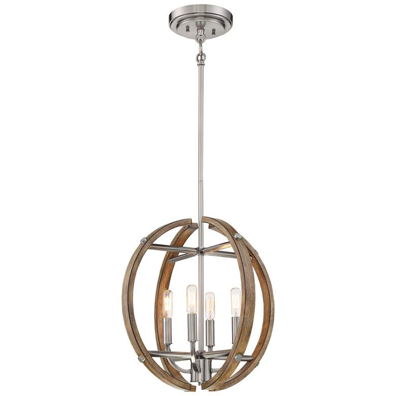 """Country Estates 16 3/4"""" Wide Wood and Nickel 4-Light Pendant"""