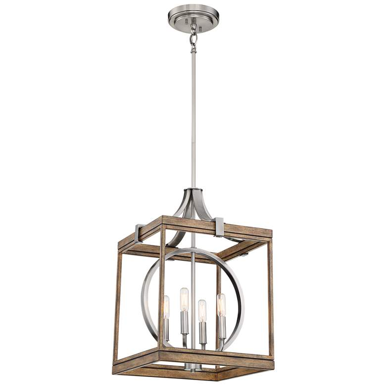 """Country Estates 14 1/2"""" Wide Wood and Nickel 4-Light Pendant"""