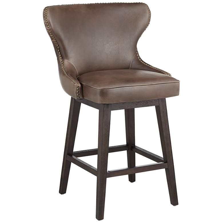 "Ariana 25 1/2"" Havana Dark Brown Swivel Counter Stool"
