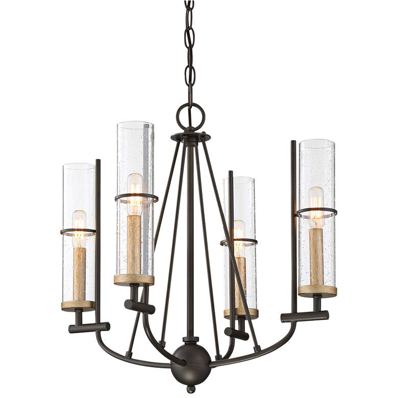 "Sussex Court 20""W Smoked Iron and Gold 4-Light Chandelier"