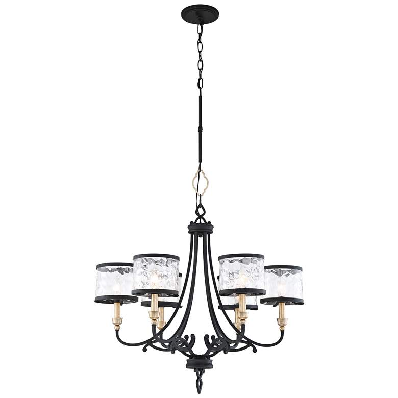 "Wyndmere 28 1/4"" Wide Sand Black and Gold 6-Light Chandelier"