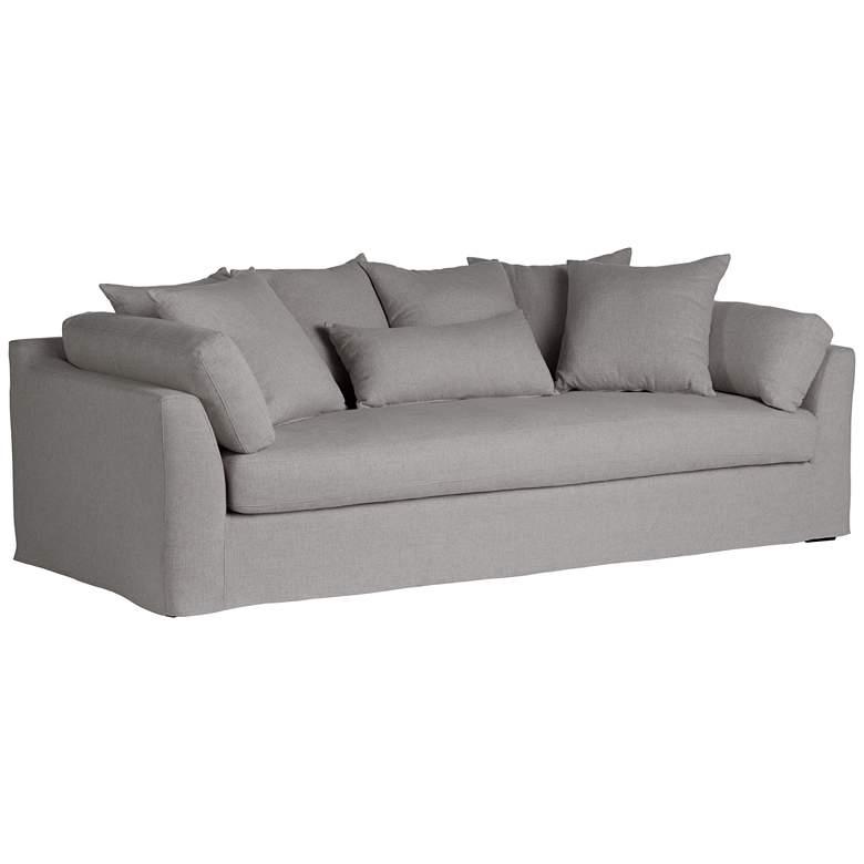"Chateau 99"" Wide Slate Gray Fabric Slipcover Sofa"