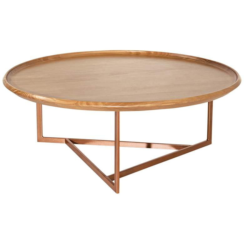 "Knickerbocker 32"" Wide Cinnamon Round Wood Coffee Table"