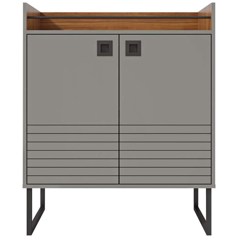 """Loft 31 1/2"""" Wide Glossy Gray 3-Shelf Wood Buffet Stand"""