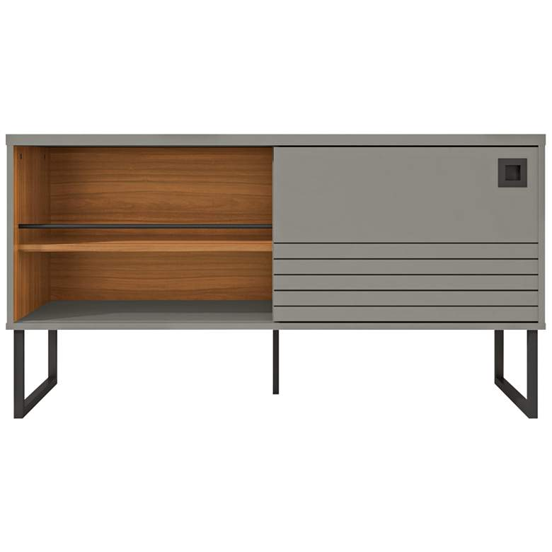 """Loft 47 1/4""""W Glossy Gray Wood TV Stand with Sliding Door"""