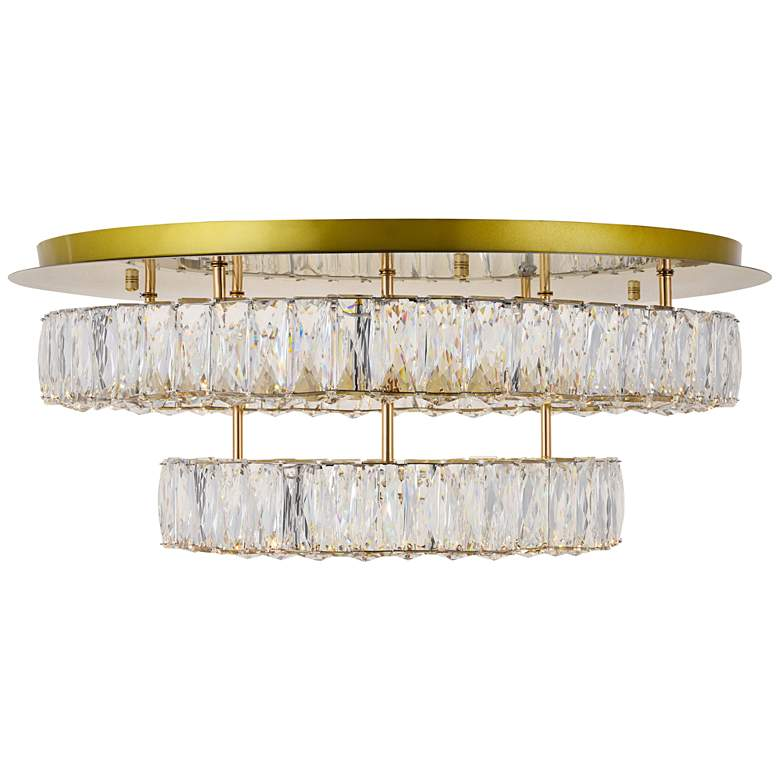 """Monroe 25 1/2""""W Gold and Crystal 2-Tier LED Ceiling Light"""