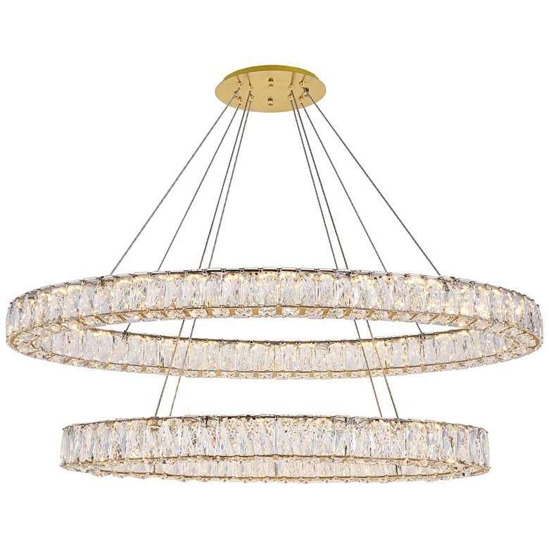 """Monroe 48"""" Wide Gold and Crystal 2-Tier LED Chandelier"""
