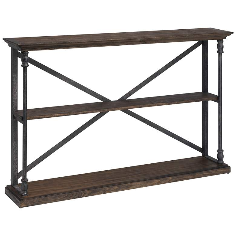 """Corbin 47 1/2"""" Wide Two-Shelf Wood and Iron Book Case"""