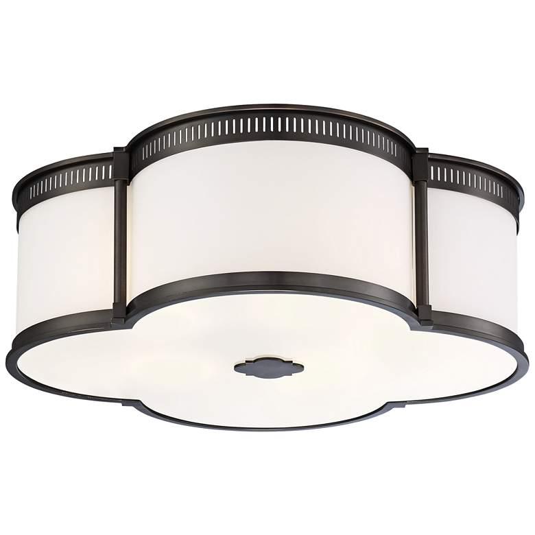 """Flush Mount 22"""" Wide Harvard Court Bronze LED Ceiling Light"""