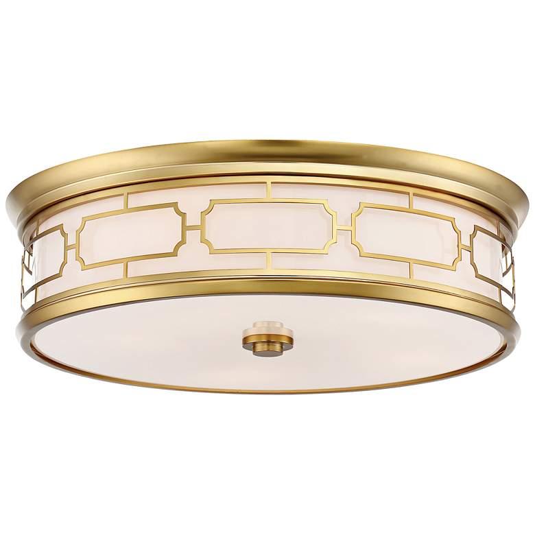 "Flush Mount 20"" Wide Liberty Gold Drum LED Ceiling Light"