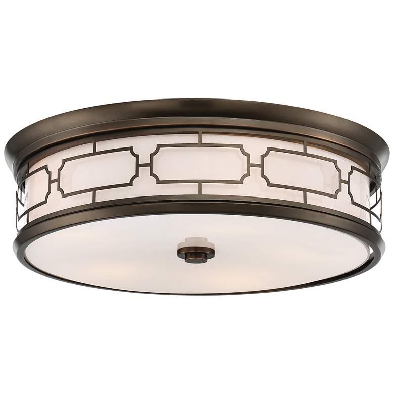 """Flush Mount 20""""W Harvard Court Bronze Drum LED Ceiling Light"""