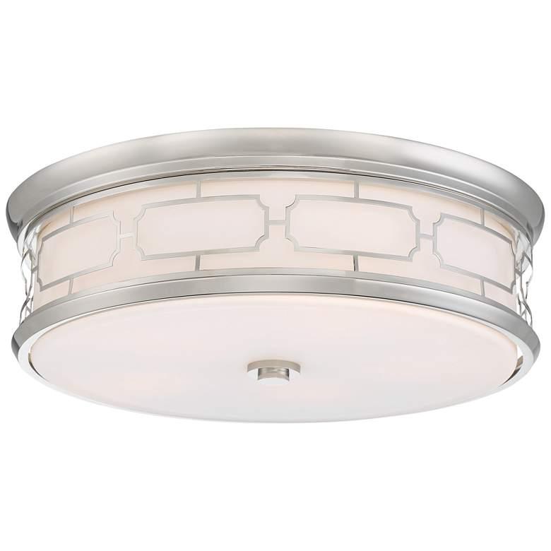 """Flush Mount 20"""" Wide Polished Nickel Drum LED Ceiling Light"""