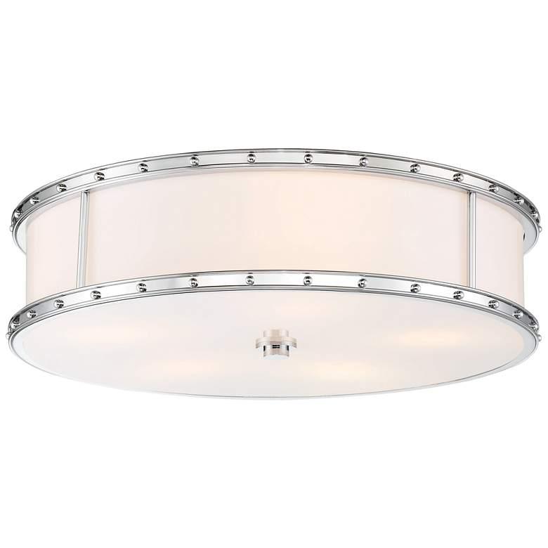 """Flush Mount 20 1/4"""" Wide Chrome Drum LED Ceiling Light"""