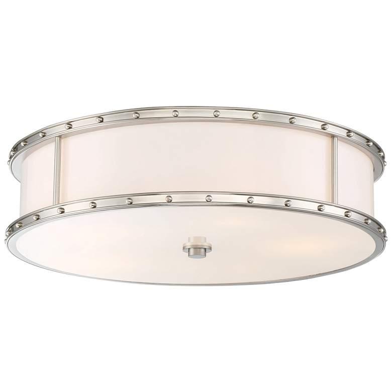 "Flush Mount 20 1/4""W Brushed Nickel Drum LED Ceiling Light"