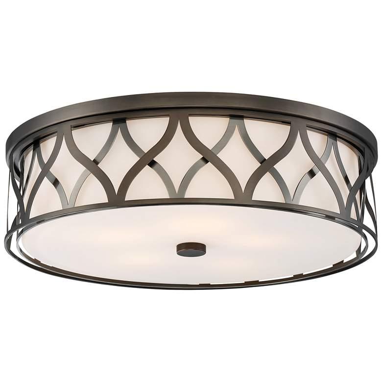 """Flush Mount 20"""" Wide Bronze 2-Cage LED Ceiling Light"""