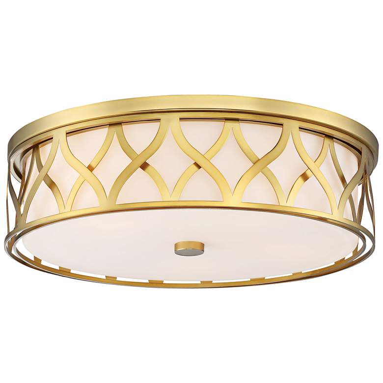 """Flush Mount 20"""" Wide Liberty Gold 2-Cage LED Ceiling Light"""