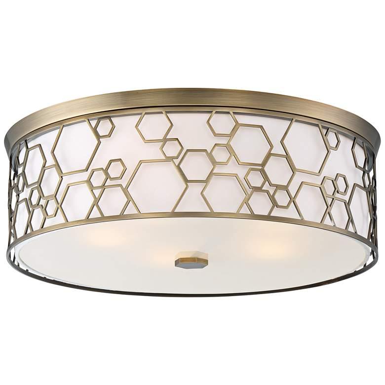 "Flush Mount 20""W Polished Satin Brass Drum LED Ceiling Light"